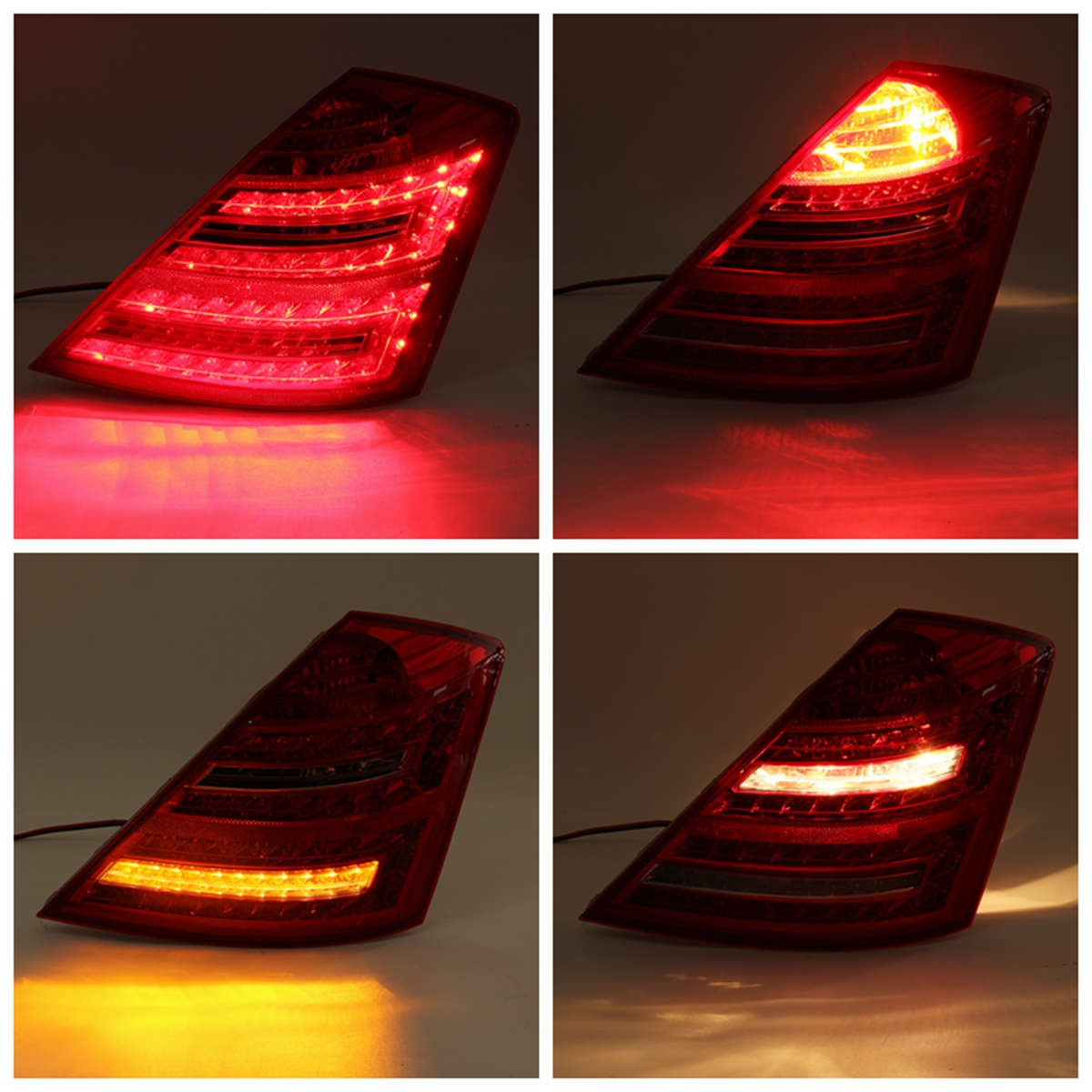 Car LED Tail Light Assembly Brake Lamp with Bulb Red Pair for Mercedes Benz W221 S Class 2006-2008