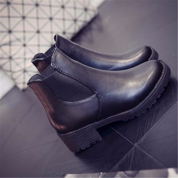 Women Leather Shoes Ankle Boots Chunky Block Heel Slip Pumps Round Toe Elastic Boots