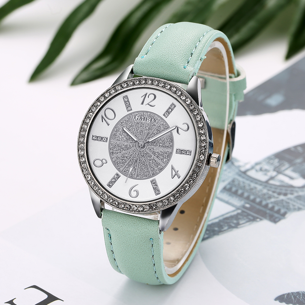 Rhinestone Crystal Leather Strap Ladies Wrist Watch