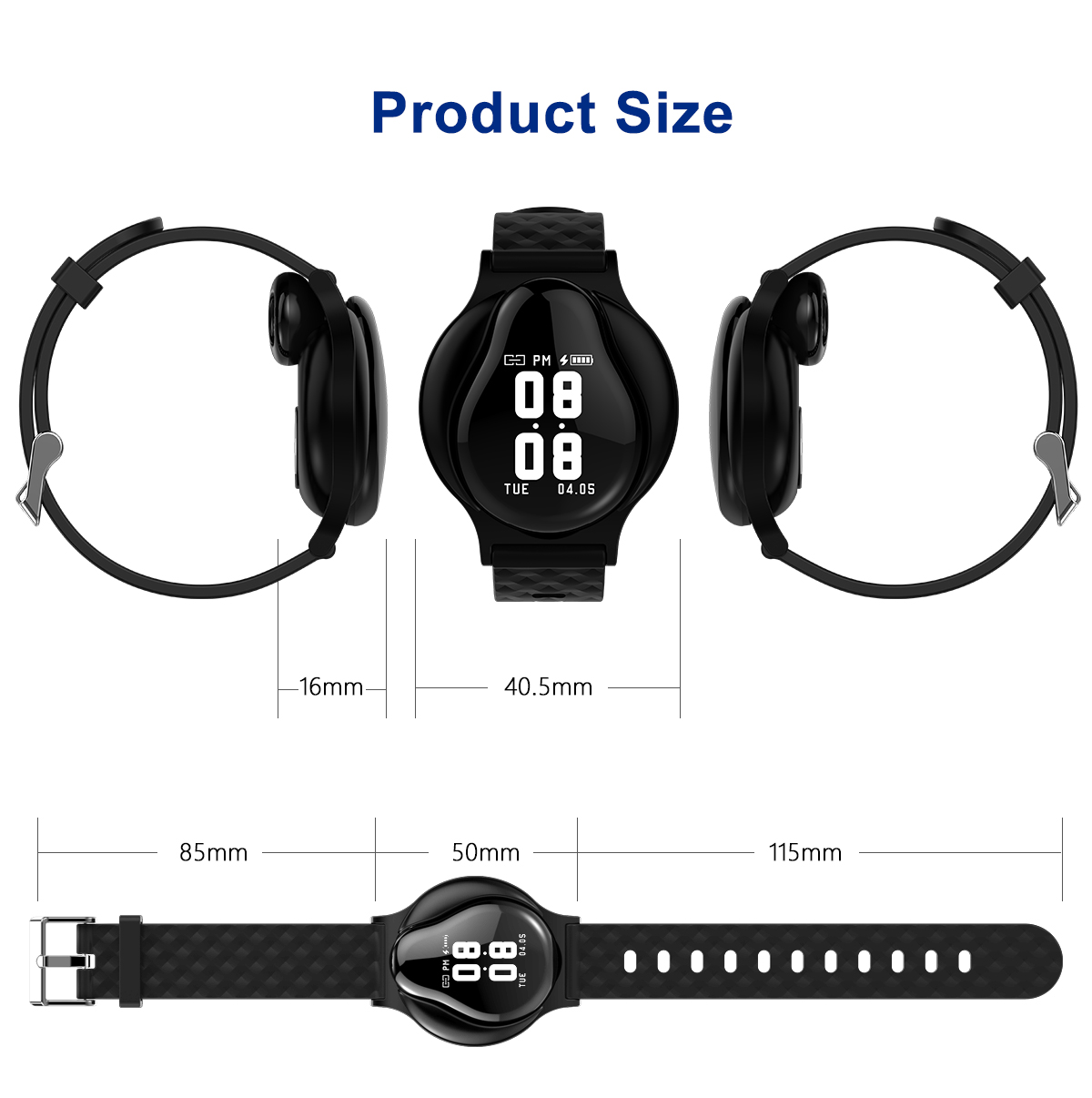 L1 Touch Control Bluetooth Earphone Wristband Heart Rate Motion Detection Alarm Clock Sleep Monitor