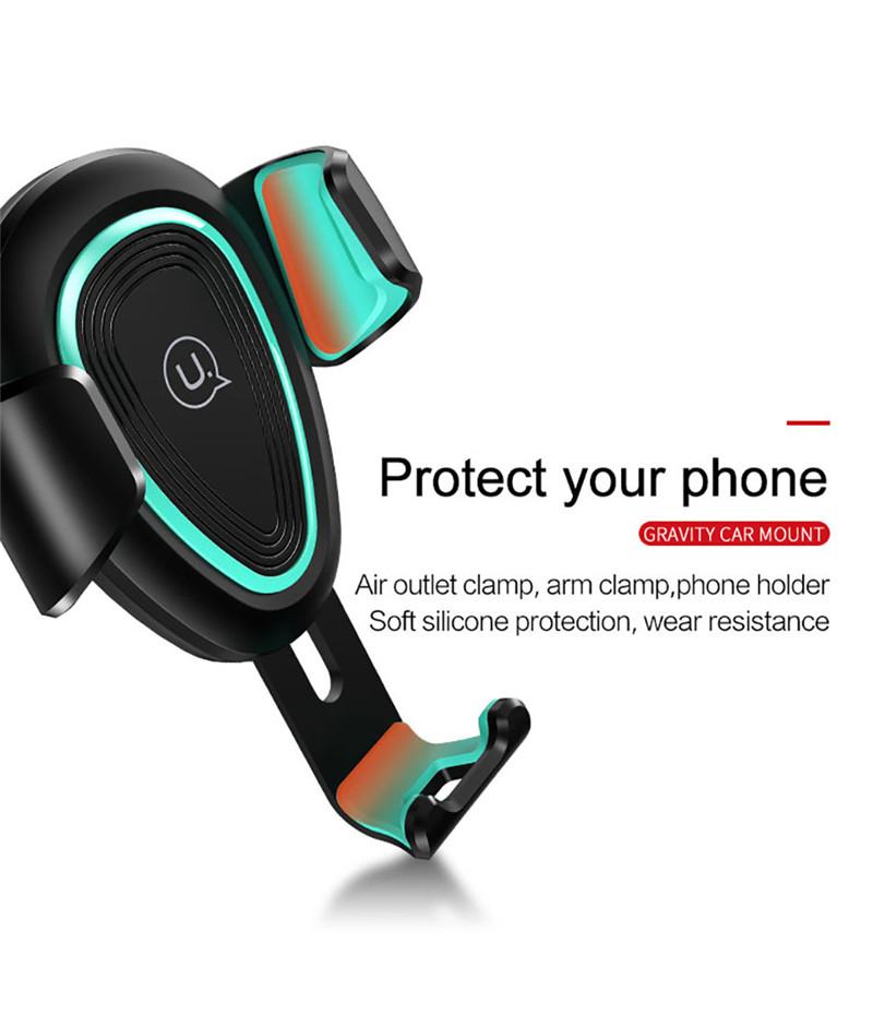 USAMS Gravity Linkage Auto Lock Charging Port Air Vent Phone Holder Stand for Xiaomi Samsung iPhone