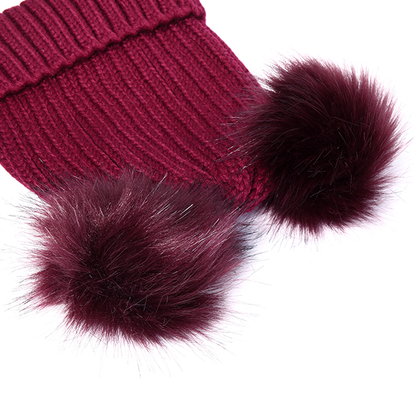 Womens Fur Ball Cap Pom Pom Beanie Cap Knitted Winter Warm Soft Caps