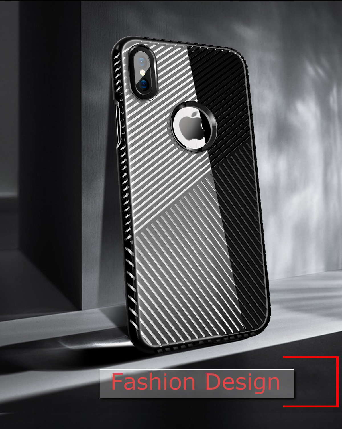 Bakeey Light Stripe Heat Dissipation Hard PC + Soft TPU Case for iPhone X