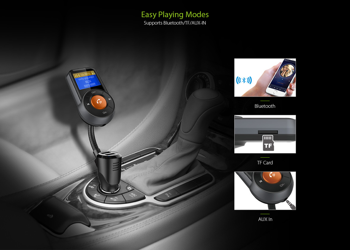 BT76 Color Screen bluetooth MP3 Car FM Transmitter Car bluetooth QC3.0 Fast Charge Handsfree