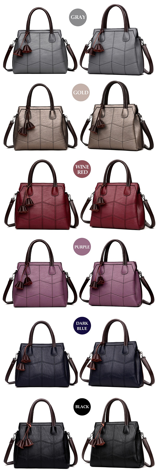 Women High Quality PU Leather Elegant Retro Handbag