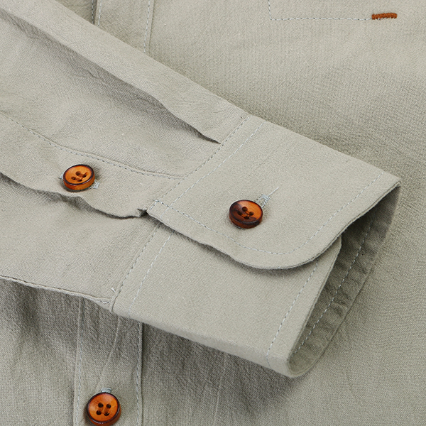 Chinese Style Cotton Linen Spring Fall Pure Color Men Casual Shirt