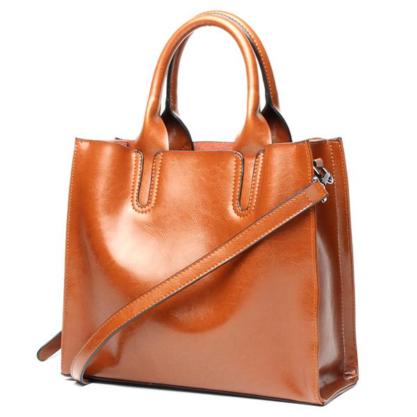 Ekphero® Women's Cowhide Genuine Leather Vintage Style Top Handle Crossbody Shoulder Bag