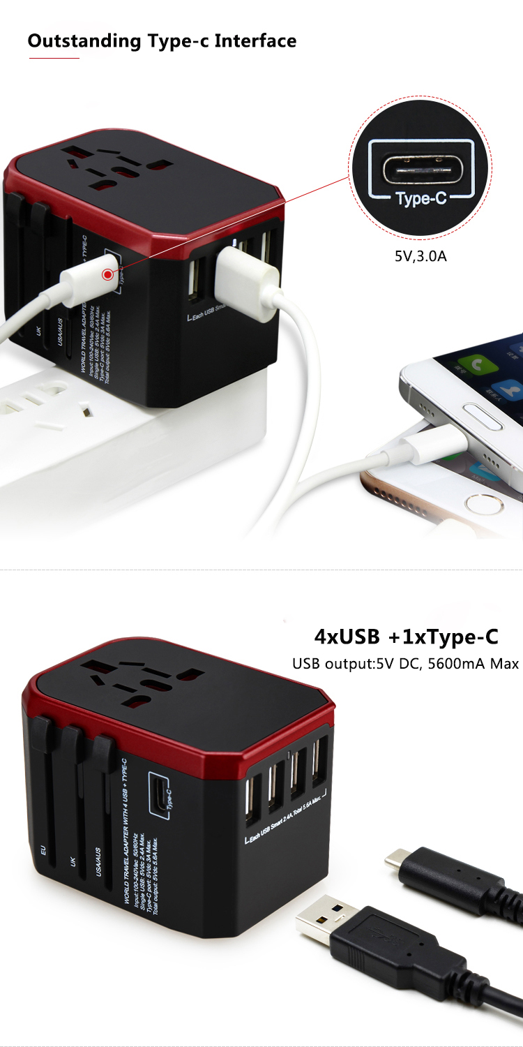 All in One Universal International Plug Adapter 4USB Ports Type-c World Travel AC Power Charger