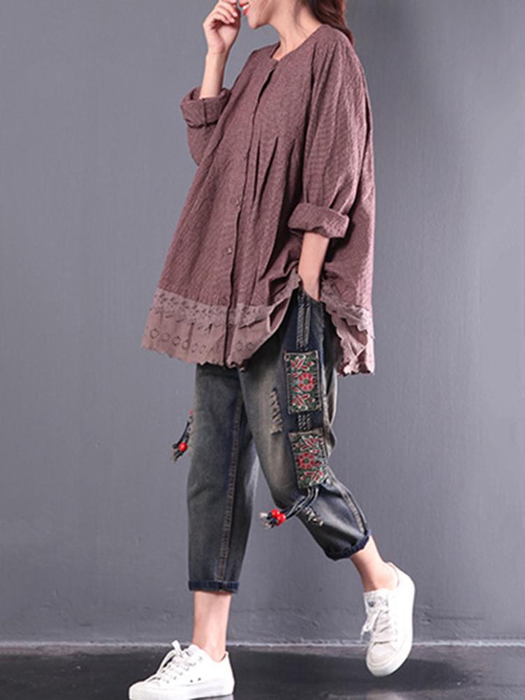 Vintage Women Plaid Lace Patchwork Long Sleeve Blouses
