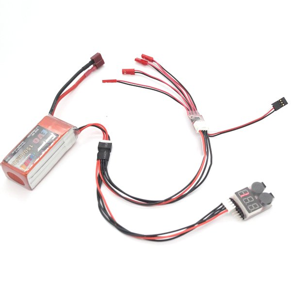 2PCS 2 in 1 Y Cable Wire for Light Strap Controller And 3S Lipo Battery Power Display Alarm Beeper