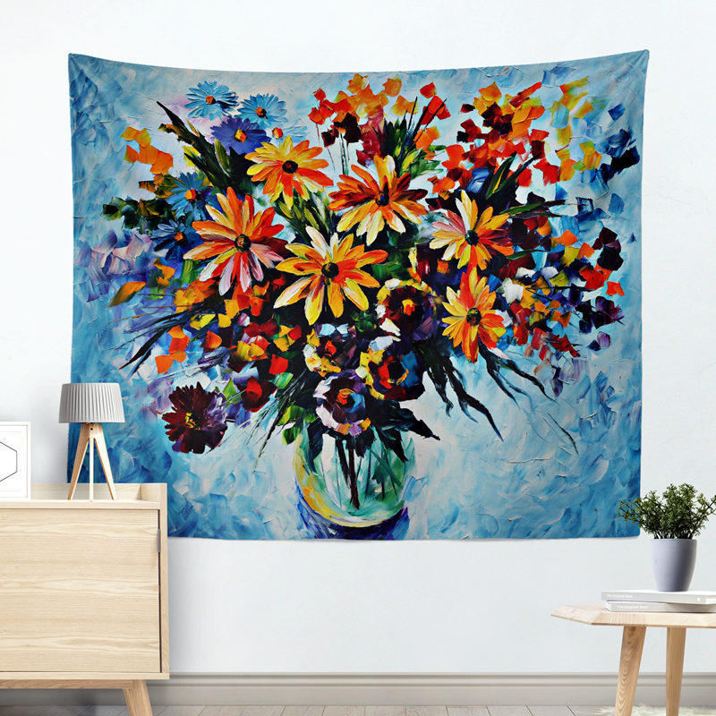 Flower Daisies Blanket Tapestry Hanging Wall Cloth Decoration Background Cloth Tablecloth Curtain