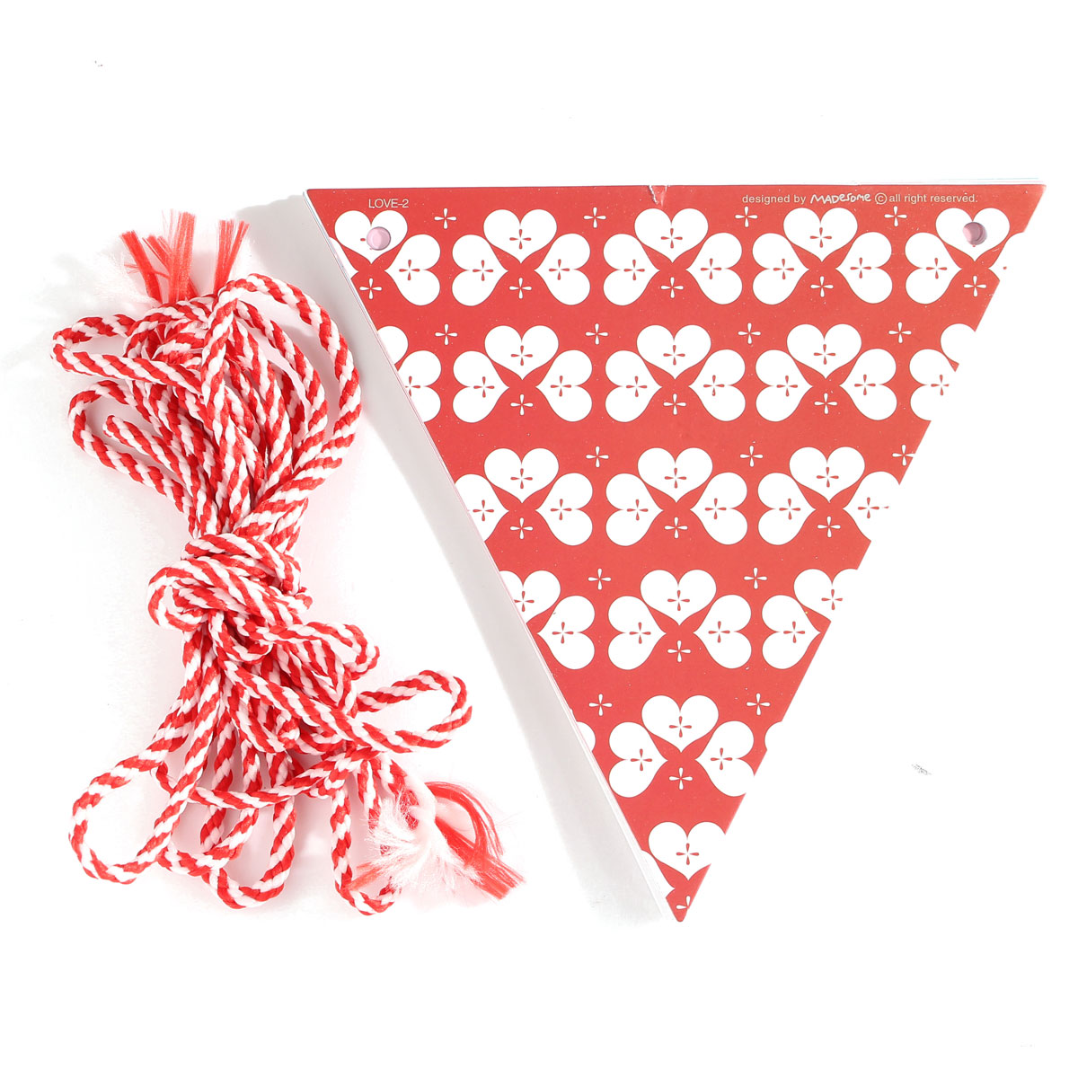 3M Paper Flags Polka Dot Love Heart Triangle Wedding Garland Bunting Burlap Decoration