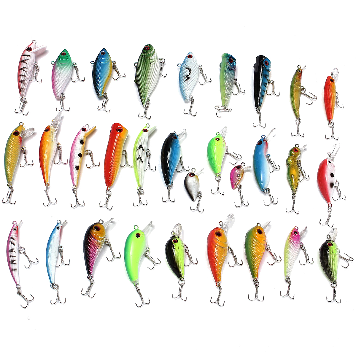 ZANLURE 30PCS Fishing Lures Stainless Steel PVC Crankba