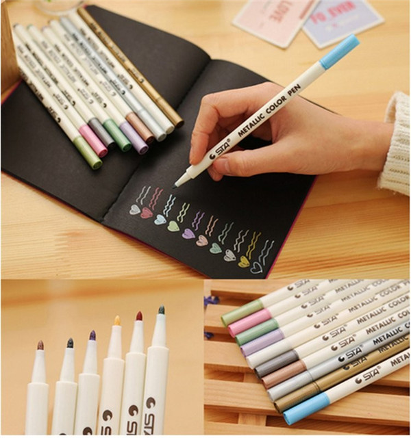 Fluorescent Color Marker Metallic Felt Tip Ink Pens Card Making Craft Scrapbook