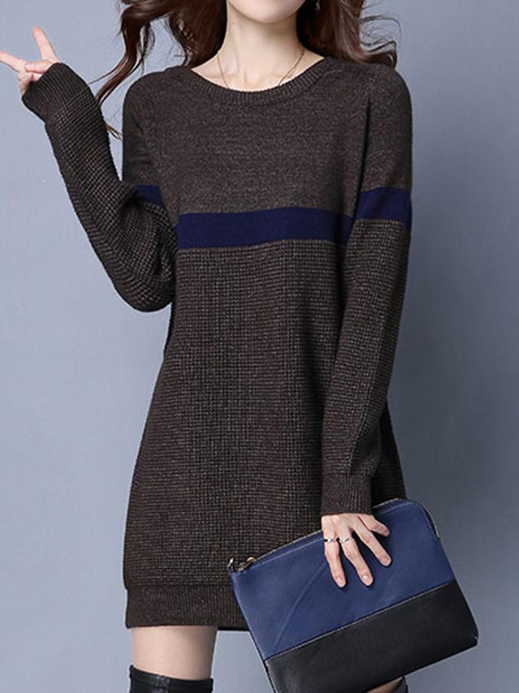 Casual O-Neck Stripe Long Sleeve Women Knitted Sweater Dress