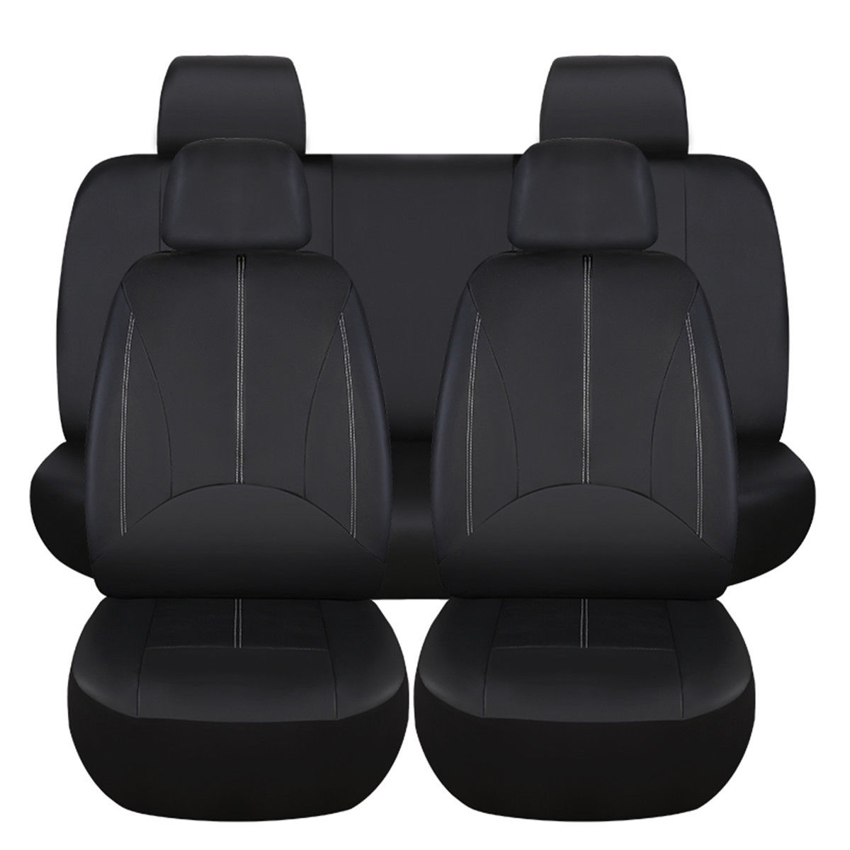 9Pcs PU Leather Black Car Full Surround Seat Cover Cushion Protector Set Universal for 5 Seats Car