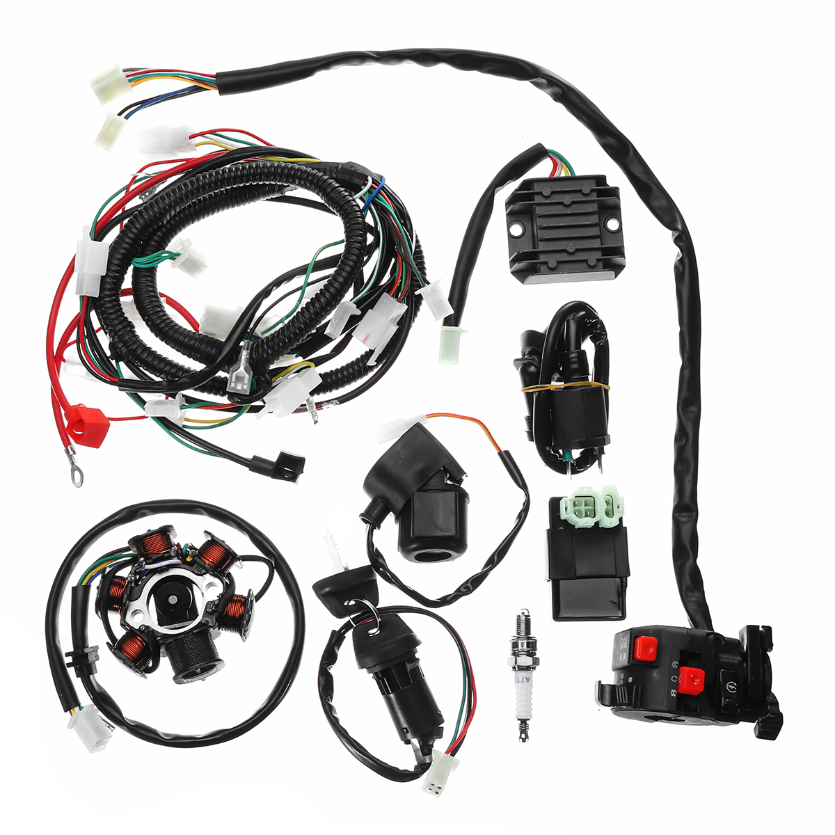 Full Electrics Wiring Harness Loom CDI Coil For GY6 150CC ...