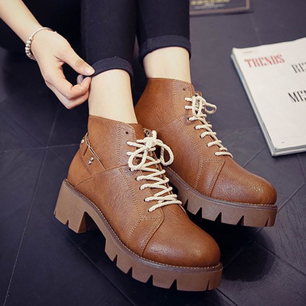 New Women Short BootsBoots Lace-Up Fashion Comfortable PU Ankle Short Boots