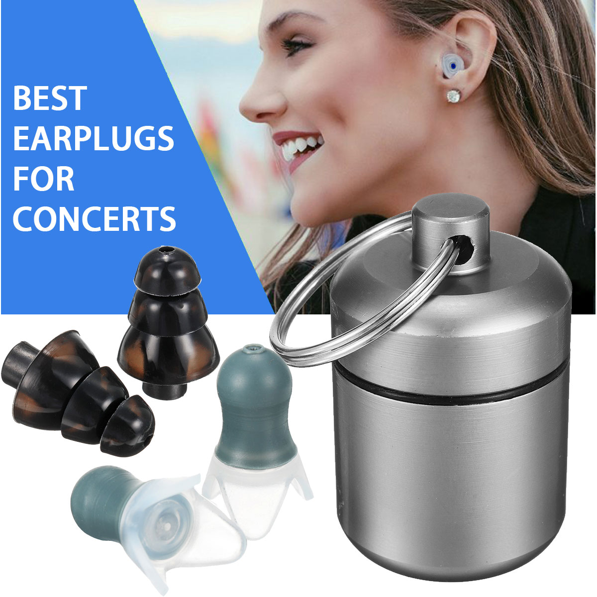 2 Pair Waterproof Noise Canceling Earplugs Swimming Earplugs Music Hearing Protectors Outdoor Travel