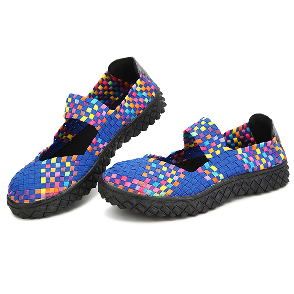 Women Summer Breathable Sandals Knit Platform Elastic Shoes