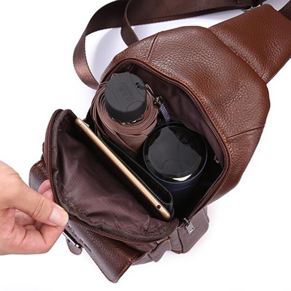 Men Leather Chest Bag Daypack Sling Bag Shoulder Bag for Walking Hiking Cycling