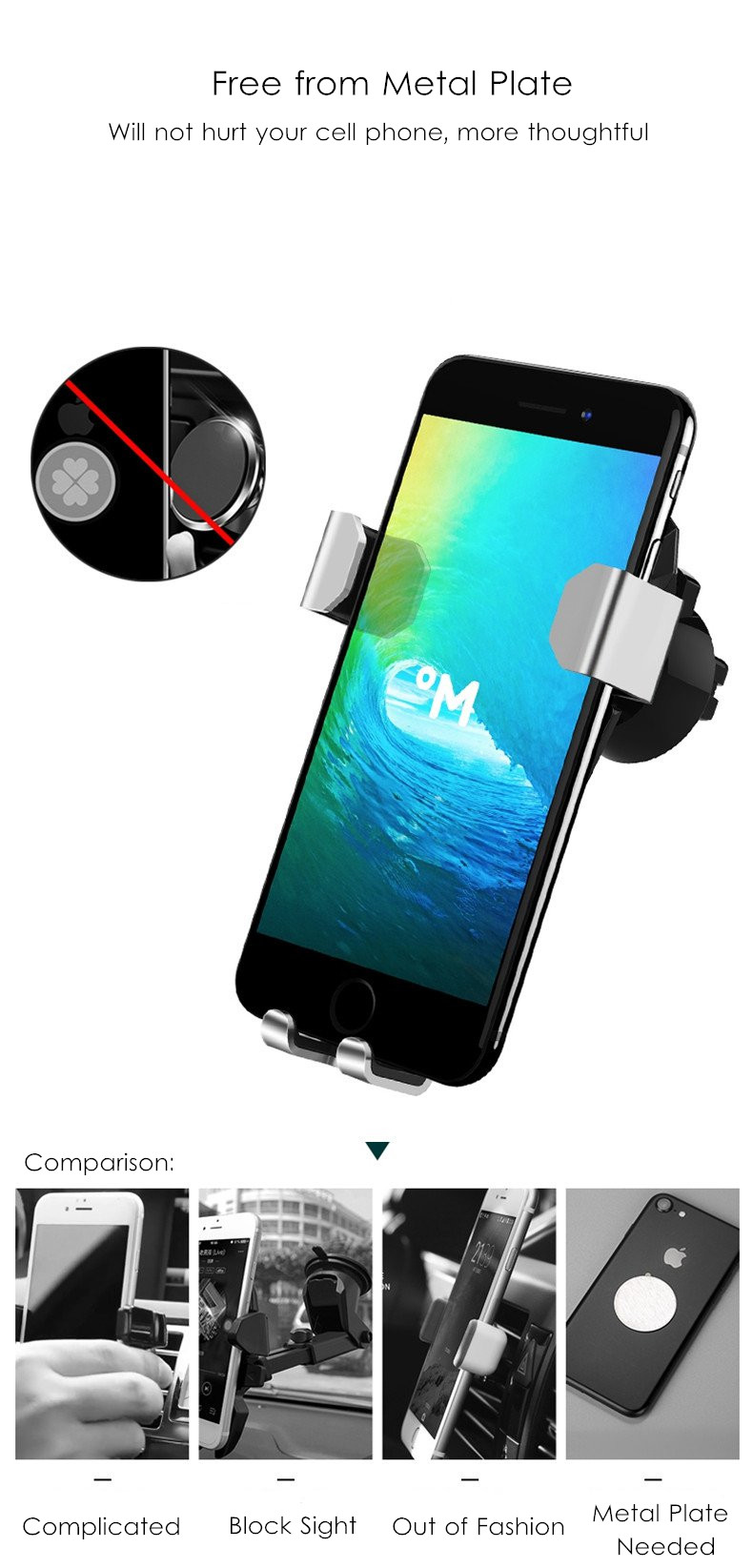 Universal Gravity Linkage Auto Lock Metal Car Mount Air Vent Phone Holder Stand for Mobile Phone