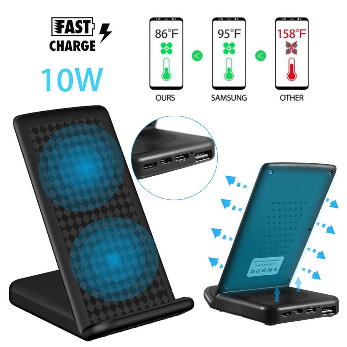 10W QI Wireless Fast Charger Double Coils Type-C + Micro USB for iPhone 8 X Plus