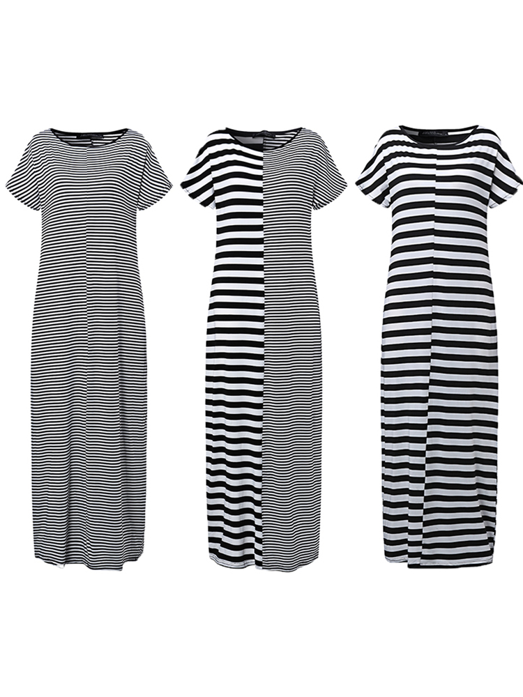Elegant Women Maxi Dress Classic Cross Stripe Casual Sexy Dresses