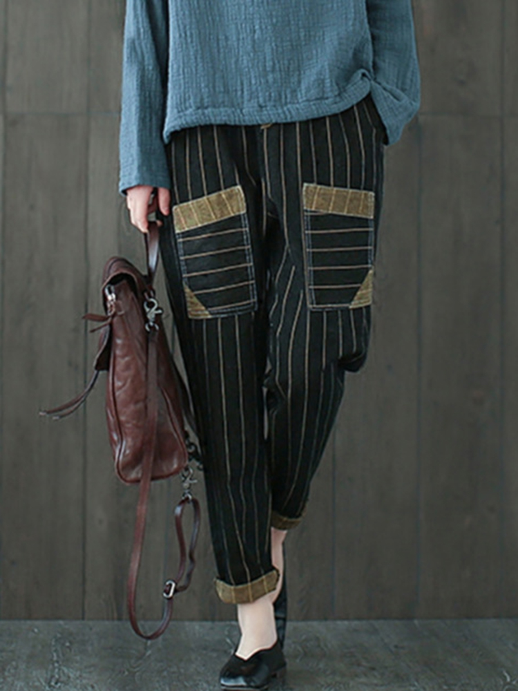 Striped Patchwork Jeans