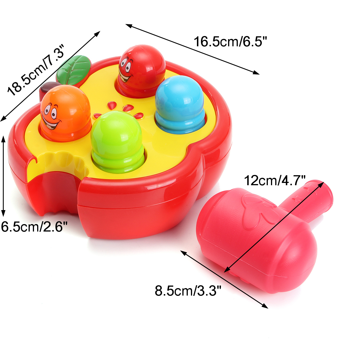 Electronic Percussion Toys Fruitworm Whac-A-Mole Game Sound Preschool Toddler Board Game Toy
