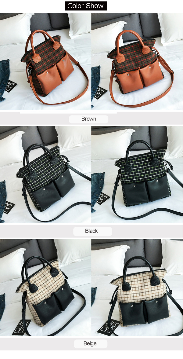 Women Vintage British Wild Woolen Handbag Shoulder Bag Diago