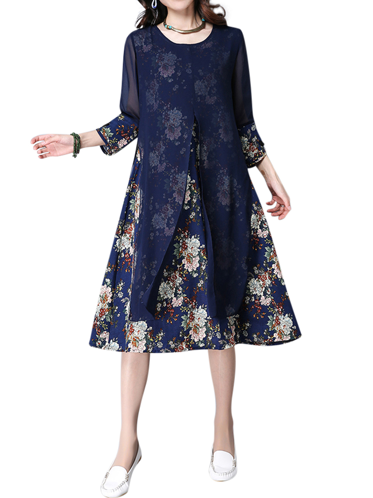 Elegant Women Chiffon Dress Flower Printed Patchwork 3/4 Sleeves Dresses