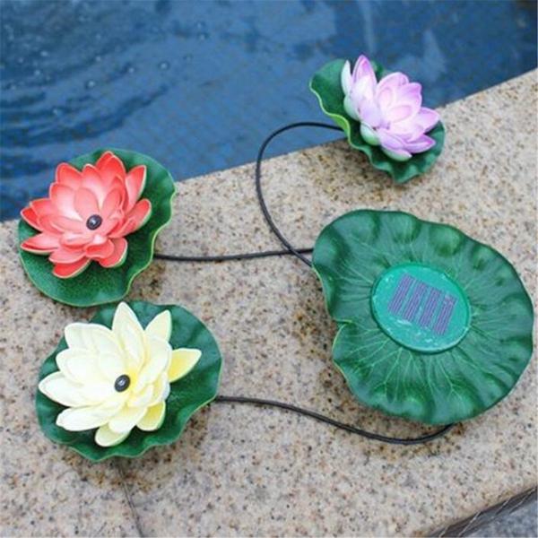 Solar Power LED Floating Lotus Light Night Pond Garden Fountain Pool Flower Lamp