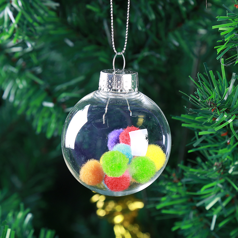 Christmas 2017 Clear DIY Baubles Shatterproof Seamless Plastic Ball Home Tree Decor Gifts