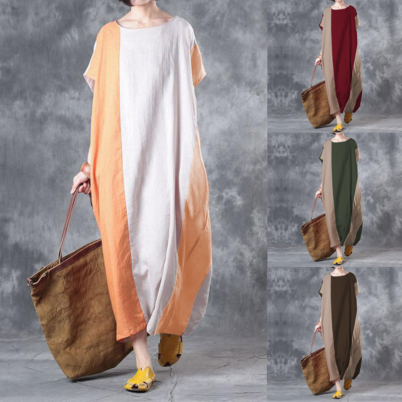 Plus Size Vintage Women Splicing Pockets Maxi Dresses