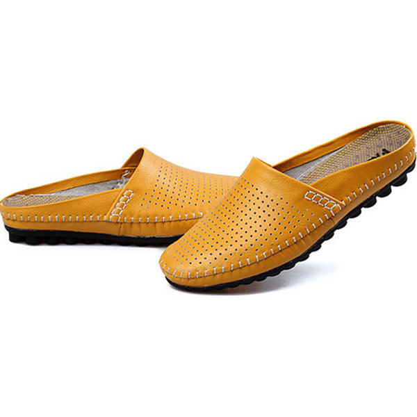 Slipper Men Hollow Out Casual Beach Slip On In Leather