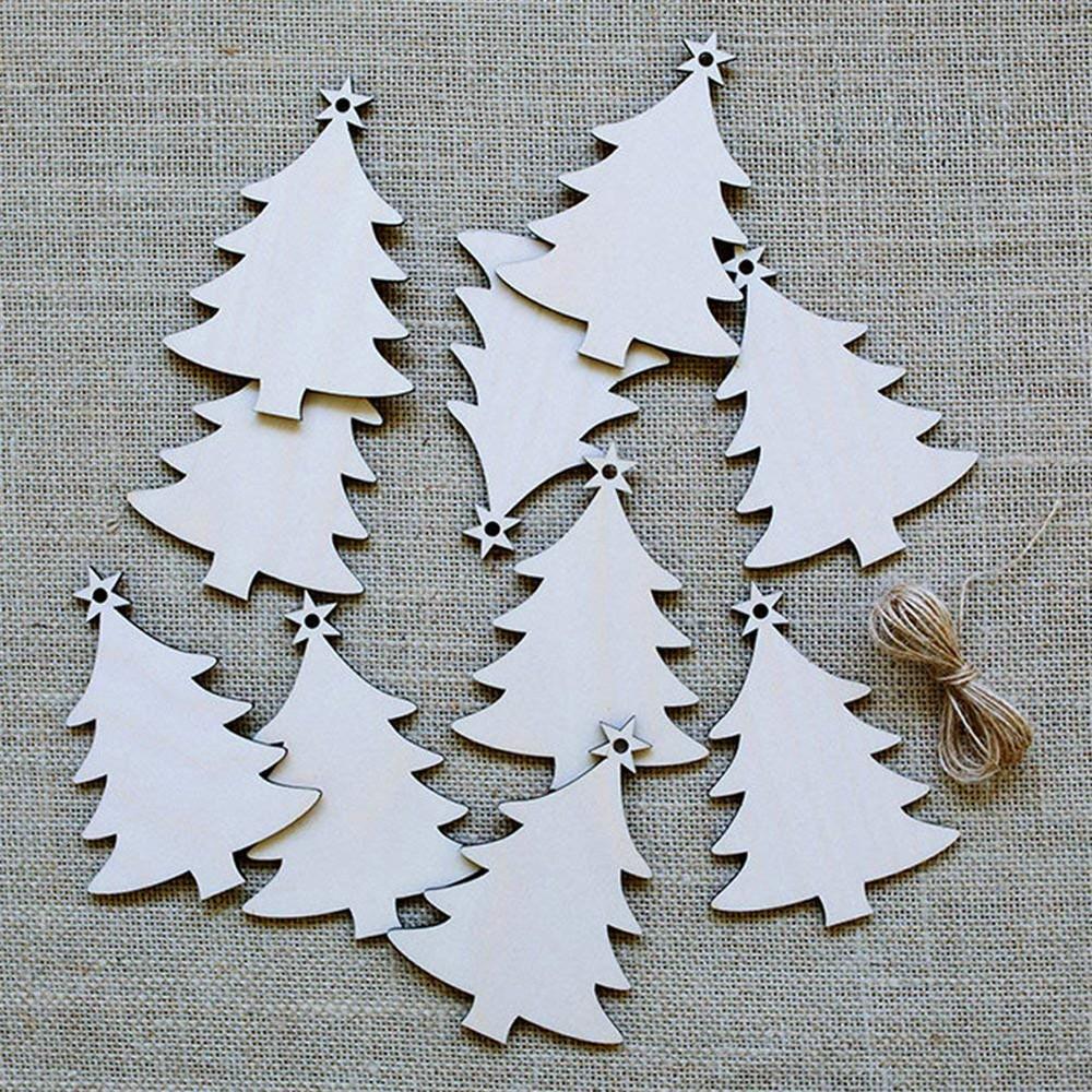 10Pcs Blank Christmas Tree Wood Chip Sheet Hanging Tags Ornament Laser Engraving Wooden DIY Crafts