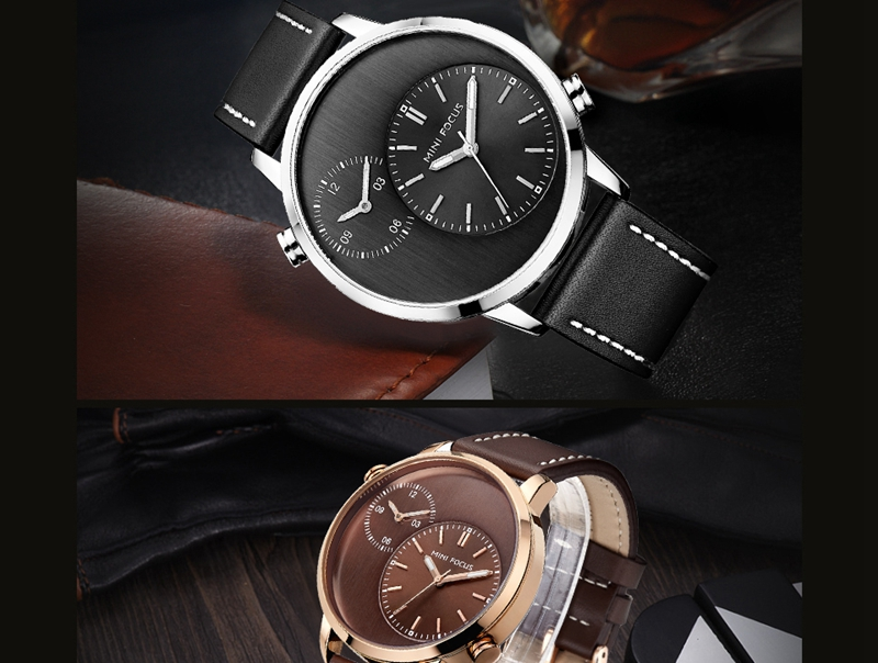 MINI FOCUS MF0035G Two Time Zones Display Men Watch Genuine Leather Strap Quartz Watches