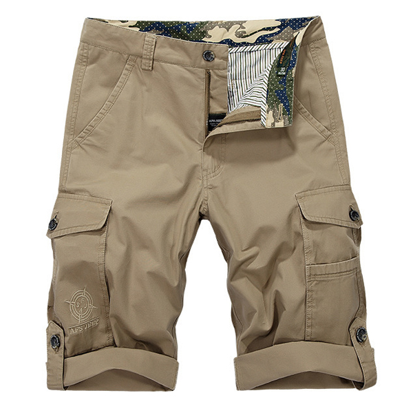 Mens Solid Color Cotton Outdooors Multi Pocket Cargo Shorts Summer Fashion Casual Beach Shorts
