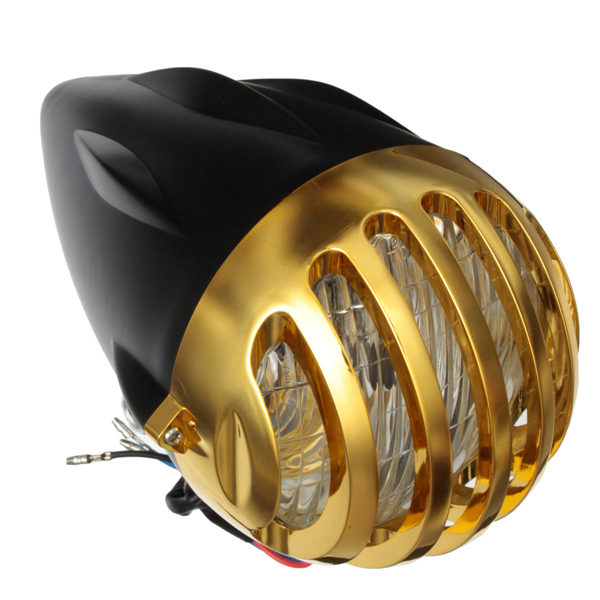 35W Motorcycle Bullet Halogen Custom H4 Headlight For HARLEY Gold Black