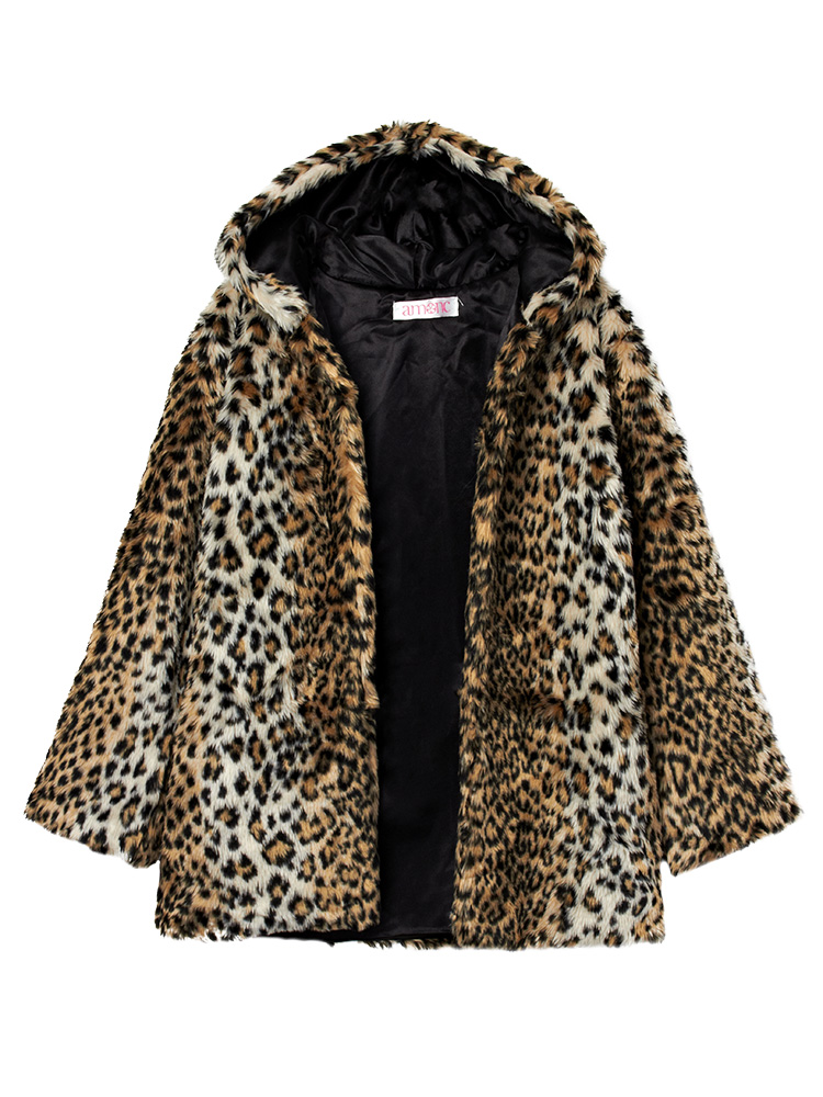 Casual Slim Faux Fur Leopard Women Hood Coat
