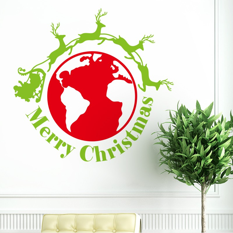 New Christmas Santa Claus Ride Removable DIY Xmas Window Wall Sticker Home Party Decoration