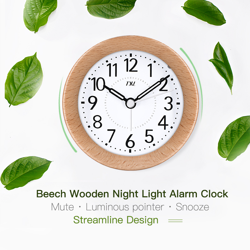 TXL Wooden Desktop Snooze Alarm Clock Backlight Silent Non Ticking Bedside Kids Room Student Table Clock