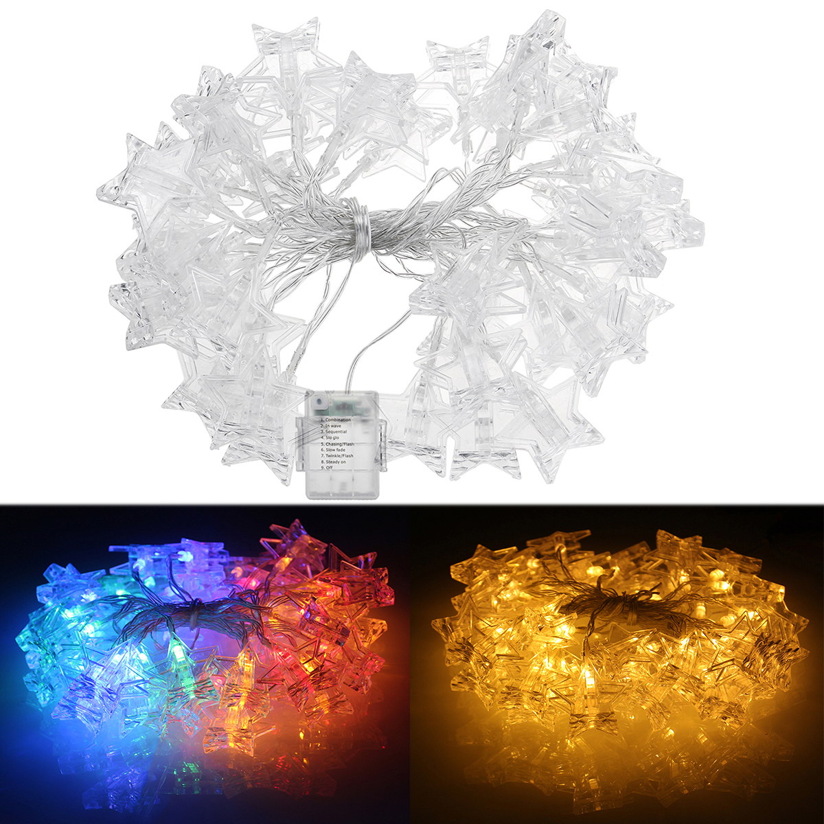 Battery Operated 6M Warm White Colorful 40 LED Star Photo Clips String Light Christmas Wedding Decor