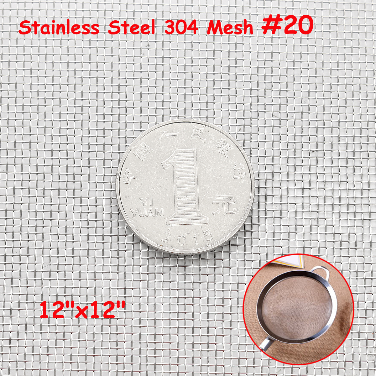 30x30cm Woven Wire 304 Stainless Steel Filtration Grill Sheet Filter 20 Mesh