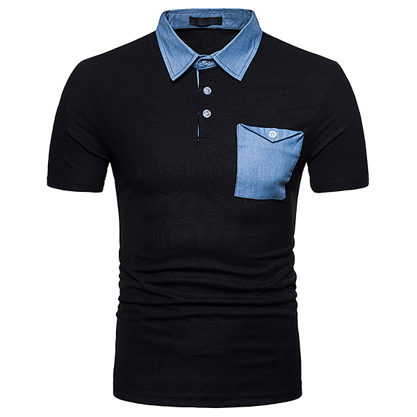 Men's Fashion Cowboy Mixed Color Lapel POLO T-shirt