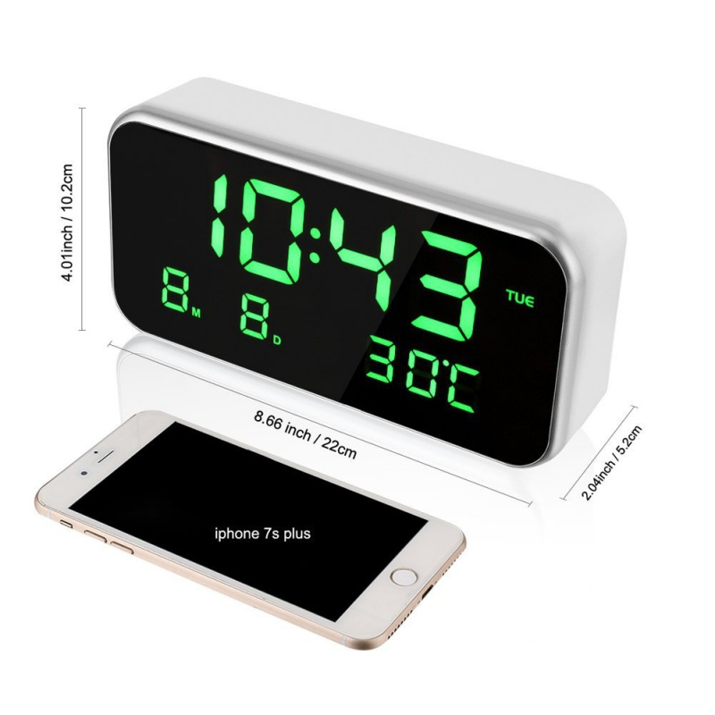 Big Screen LED Digital Multi-function Music Alarm Clock with Temperature Date And Week Desktop Digital Bedside Mirror Clock