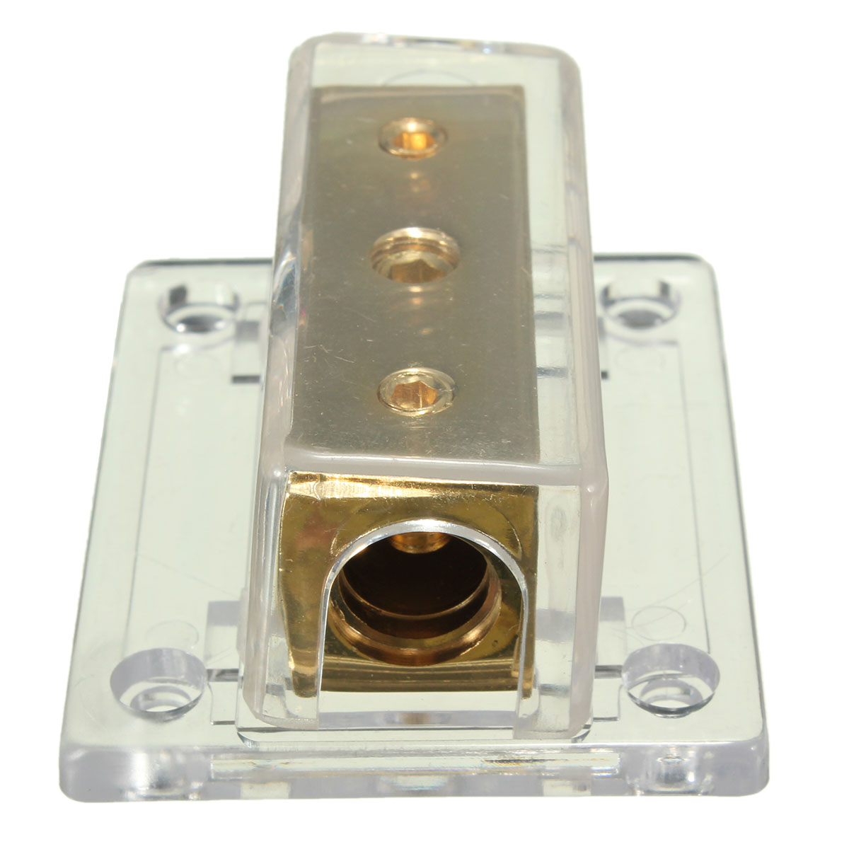 2-Way Solid Metal Power Distribution Block Splitter Gold Plated For Cars Boats