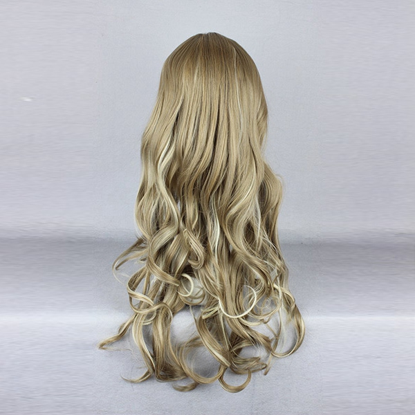 60cm Mix Khaki Wavy Harajuku High Temperature Heat Friendly Synthetic Costume Cosplay Wig