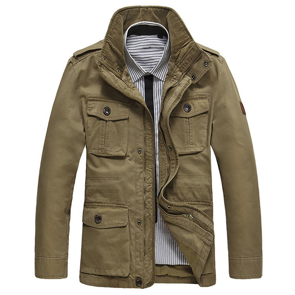 Mens Outdoor Cotton Stand Collar Jacket Big Size S-6XL Business Cacual Solid Color Coat